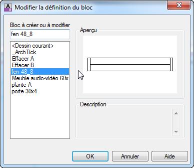Modifier un bloc interne avec l 39 diteur de blocs autocad for Bloc autocad fenetre